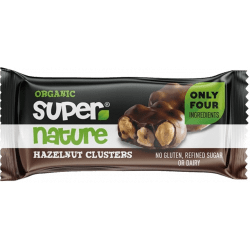 Hazelnut clusters choclat noir vegan biologique by Supernature - bloc de noisette avec chocolat noir vegan par supernature