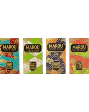 Pack de 4 Chocolats Marou Origin Plus - Kumquat, Café, Coco et Gingembre Citron