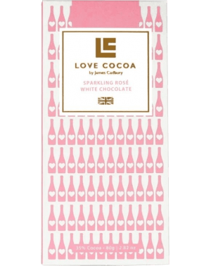 Chocolat Blanc Rosé Mousseux - Sparkling Rosé 35% White Chocolate Bar par Love Cocoa